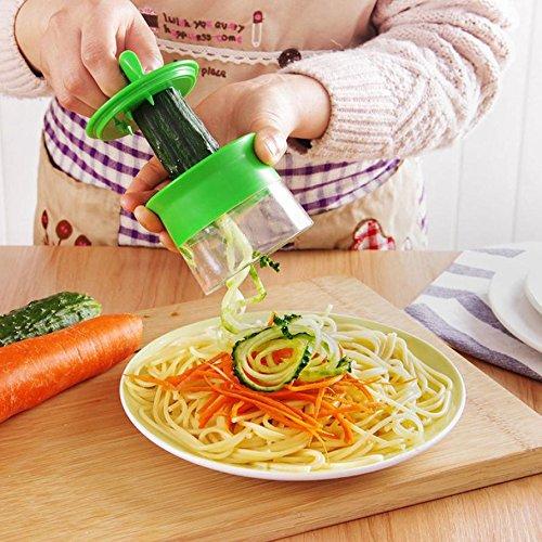 Cortador de Verduras Frutas en Espiral Pelador y Rallador de Verduras Utensilios de Cocina en forma de Espirales para Platos Sanos y Creativos Herramienta de la Cocina Profesional Color Verde LMMVP