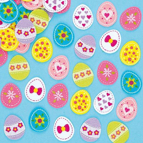 Bunte Aufkleber aus Filz - Osterei - für Osterdeko - Sticker Set für Kinder zum Basteln zu Ostern (64 Stück)