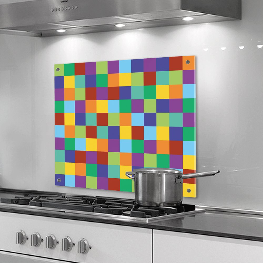 küchenrückwand aus plexiglas - motiv: bunte quadrate - format 60 x ... - Küche Spritzschutz Plexiglas
