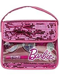 Barbie Geschenk-Set (Make Up-Set auf Wasserbasis) in stylischer Beauty-Pailletten-Tasche mit Glitzer für Kinder