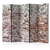 murando - Raumteiler Ziegel-Optik - Foto Paravent 225x172 cm - beidseitig auf Vlies-Leinwand bedruckt - Blickdicht & Textile Haptik - Trennwand - Spanische Wand - Sichtschutz - Raumtrenner - Deko - Design - rot f-A-0452-z-c