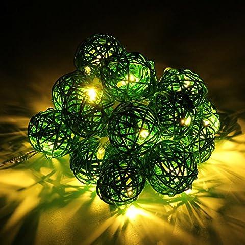 Happyit 3M 20pcs Boule Led Rotin chaîne lumières Lampes à cordes pour Nouvel An Noël Décorations Fête de mariage Feuilles de décoration intérieure (Vert)