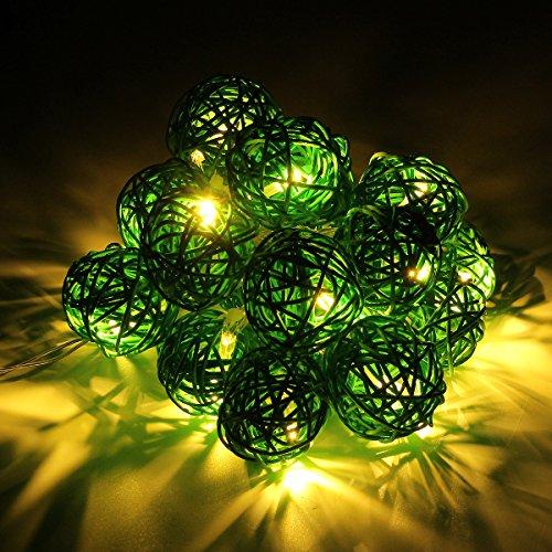 Happyit 3M 20pcs Led Rattankugel Lichterkette String Lights für Neujahr Weihnachts Dekoration Hochzeit Party Home Dekoration Lichter (Grün)