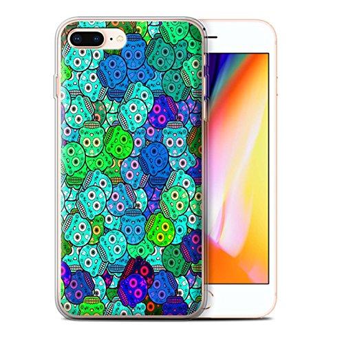 Stuff4 Gel TPU Hülle / Case für Apple iPhone 8 Plus / Türkis Muster / Süßigkeiten Schädel Kollektion Türkis