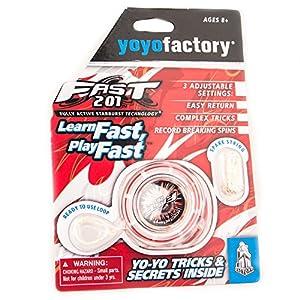 YoyoFactory Fast 201 Yo-Yo - Rojo (Genial para Principiantes, Juego Yoyo Moderno, Rodamiento de Bolas de Metal, Freestyle Yoyoing Tricks, Cuerda e Instrucciones Incluidas)