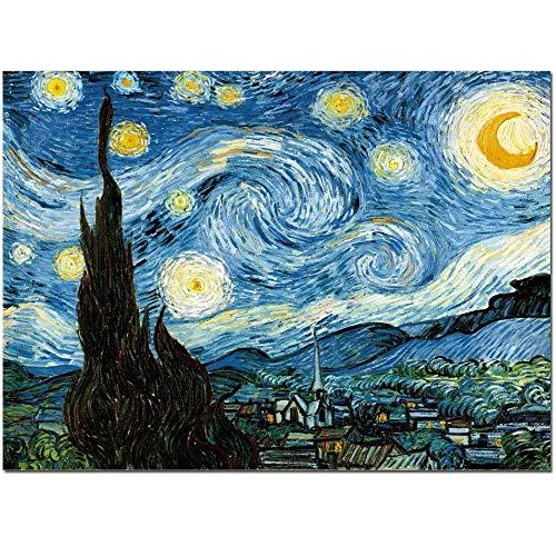FajerminArt Starlit Night Giclée-Kunstdruck auf Leinwand von Van Gogh berühmten Öl Gemälde Replica Wand Art Decor Bedruckt 36x48inch