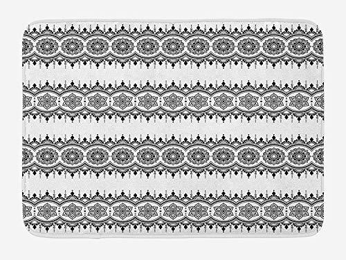 OQUYCZ Henna Bath Mat, Black White Mandala Design Floral Elements Monochrome Tattoo Pattern South Asian, Plush Bathroom Decor Mat with Non Slip Backing, 23.6 W X 15.7 W Inches, Black White -