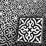 Zementfliesen Iraquia weiß schwarz (Bestelleinheit: Karton mit 10 Fliesen)