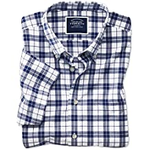 Slim Fit Poplin Short Sleeve Navy and White Cotton Shirt Single Cuff by Charles Tyrwhitt