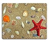 Liili Mauspad Naturkautschuk Mousepad Bild-ID: 33150029rot Seestern am Strand zu liegen Sand mit Muscheln