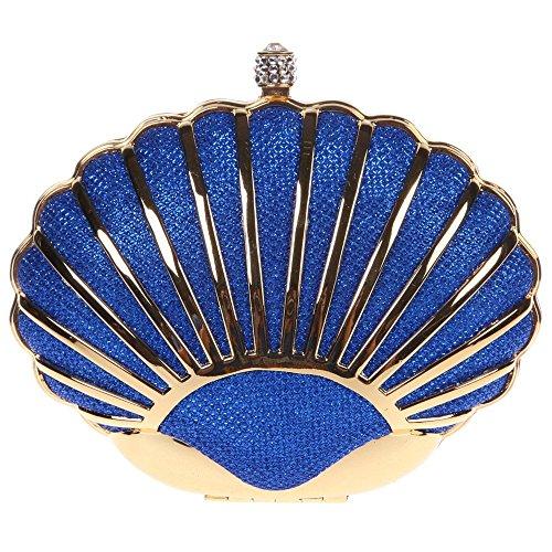 sche Handtasche Geldbörse Luxus Funkelt Metall Muschel Tasche mit wechselbare Trageketten von Santimon Blau (Muschel-geldbörse)