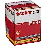 FISCHER plug SX, maat 10 x 80 mm, zonder flens, verpakking van 25 stuks,