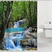 3d cascadas naturaleza paisaje baño 100% tela cortina de ducha con 12ganchos