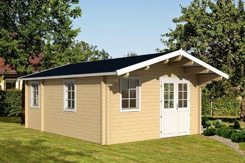 Gartenhaus GOTLAND D 70 Blockhaus 440x595cm + 100cm Vordach Holzhaus 70mm
