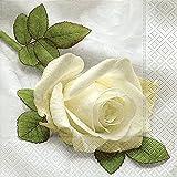 20 Servietten So beautiful - Wunderschöne weiße Rose / Blumen / Hochzeit 33x33cm