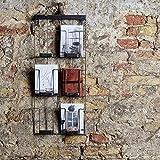 lounge-zone titolare della carta PORTAFOTO PORTA DEPLIANT SUPPORTO OPUSCOLO parete wanddisplay wandset METALLO NERO 24x55cm 6x A6 13517