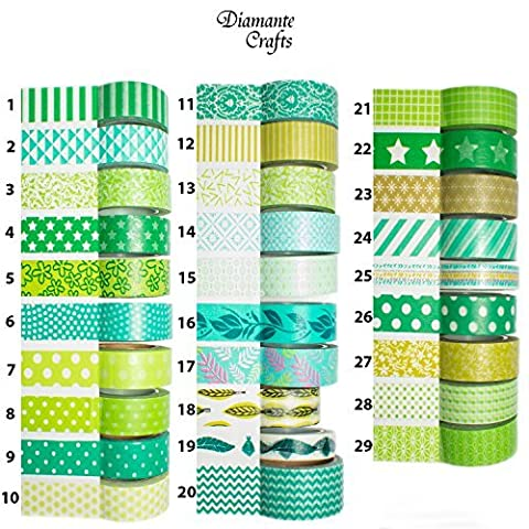 1 Roll Washi Tape Decorative Masking Adhesive Paper Craft Gift Trim - by Diamante Crafts - Green Collection - 003 - Vine (15mm x 10m) by Diamante Crafts