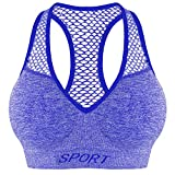 Bongual Sport-BH Bustier Push-UP Mesh-Einsatz mit V-Ausschnitt ,Sommer BH-Top 34-36 (M/L) Blau