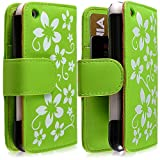Housse coque étui portefeuille pour Apple Iphone 3G / 3GS motif fleur couleur vert +...