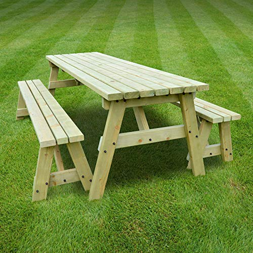Rutland County Garden Furniture | Oakham Picnic Table Heavy Duty Pub Style Bench | Ideal For Gardens And Patios | 6ft in Length