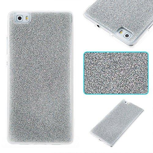 Soft Flexible Silikon TPU Gel Cover Case [Anti-Kratzer] Glänzende Glitter 360 ° Volldeckung Rückseitige Abdeckung [Shockproof] für Huawei P8 Lite ( Color : Silver ) Silver