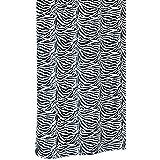 Cortina de ducha textil con anillas de piel de cebra en colour blanco con diseño de animales de colour negro con dibujos, tamaño: 180 x 200 cm aproximadamente de la