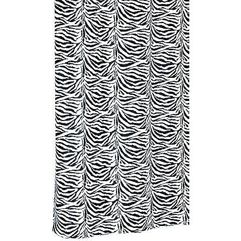 Cebra tela cortina de ducha con anillos en color blanco con negro patrón de animal print–dimensiones: 180x 200cm