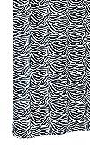 Textil Duschvorhang 180x200 cm mit Ringen, Badewannenvorhang Zebra Weiß - Schwarz, Waschbar und Anti - Schimmel