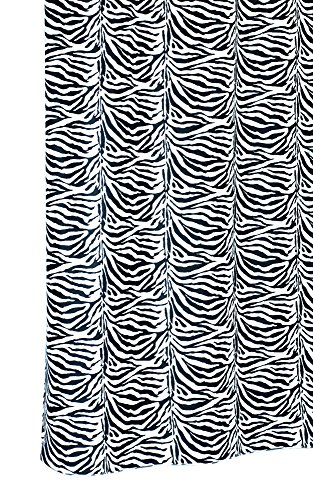 Lodge Duschvorhang (Textil Duschvorhang 180x200 cm mit Ringen, Wannenvorhang ZEBRA weiß - schwarz, waschbar und Anti - Schimmel)