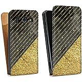 Huawei Ascend G510 Tasche Hülle Flip Case Glitzer Look Marmor Gold