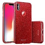 ZUSLAB Coque iPhone XS (2018) Coque iPhone X étui à Paillette, Structure Trois en Une, Doux Gel TPU Silicone Papier Briller Glitter Bling Coquille Interne PC Dur [Rosy] [Rouge]