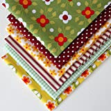 6 Fat Quarters - Whoopsie Daisy Collection - Green, Yellow and Wine Red. 100% Cotton Fabric. Ideal for Quilting and Craft Sewing (includes free patchwork pattern)