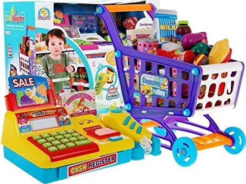 Kinder Registerkasse Mit Rechner + Einkaufskorb - Gelb