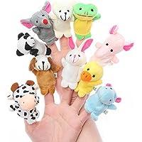 VIBGYOR PRODUCTS Animal Finger Puppets 10pcs Soft Plush Animal Finger Puppets Set Baby Story Time Velvet Animal Style…