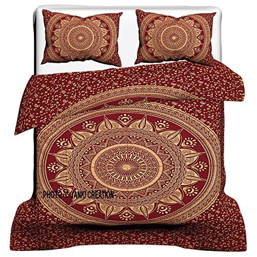 janki creation indischen Medaillon Queen Size Baumwolle Doona Bettbezug Set, Hippie Bohemian Mandala Decke, Bettdecke, Tagesdecke Bettwäsche Tröster Cover mit Kissenbezügen, 100% Baumwolle Bettbezug, -