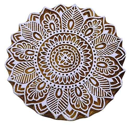 Dekorative Blumen-Blöcke Kunst Indian Braun Keramik Briefmarken Holztextilmarken (Kunst Drucken Block Der Muster)