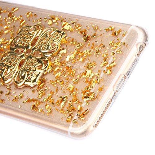 iPhone 6 Plus Hülle,iPhone 6s Plus Case,iPhone 6 Plus Bling Case - Felfy Ultradünne Transparent Gel TPU Silikon Diamond Skin Bling Glitte Kristall Schutzfolie Glitzer Silber Silikon Crystal Case Durch Golden Case uadrilateral Blume