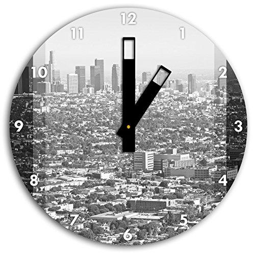 Stil.Zeit Los Angeles Metropolitan Area schwarz/weiß, Wanduhr Durchmesser 30cm mit schwarzen eckigen Zeigern und Ziffernblatt - Metropolitan Insel