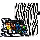 Fintie Amazon Kindle Fire HDX 7 Funda - Slim Fit Folio Smart Case Funda Carcasa con Stand Función y Auto-Sueño / Estela para Amazon Kindle Fire HDX 7.0 Pulgadas 2013 Generación Tableta, Zebra