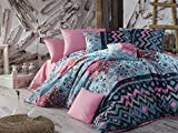 2PCS Luxus Soft farbigen Schlafzimmer Twin und Single Bettwäsche 65% Baumwolle 35% Polyester Single XXL Set Bettbezug Einzelbett/Blumen Motiv Zig Zag Line Muster Form Rosa und Blau/XXL Hundebett Gr.