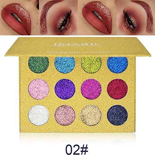 Weisy 12 Colors Glitter Make-up Powder Metallic Shimmer Eye Shadow Palette Cosmetic Makeup
