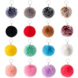Days OFF Pom Pom Balls Faux Fur Keychain Keyring Handbag Bag Decoration Mix Color
