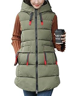 Qitun Damen Stepp-Weste /Übergangsweste mit Kapuze Padded Warm Plus Size Daunenweste Baumwolle Jacke
