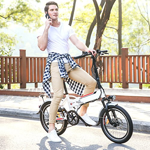Elektrofahrrad mit 20 Zoll, Faltbares E-Bike, Klapprad Mountainbike, 36V/8AH Lithium-Akku und 7-Gang Shimano Zahnrad
