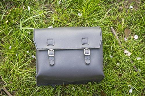 Große Tasche aus echtem Leder Sattel/Lenker/Rahmen Moto Tasche (schwarz) 23x 19,5x 11cm Motorrad Moped (Fahrrad-werkzeug-tasche Motorrad-leder)