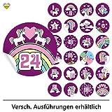 cute-head 24 Adventskalender-Zahlen (Aufkleber Etiketten Sticker) | Einhorn/Unicorn | Rund | M » Ø 40 mm | Violette | F00107-09