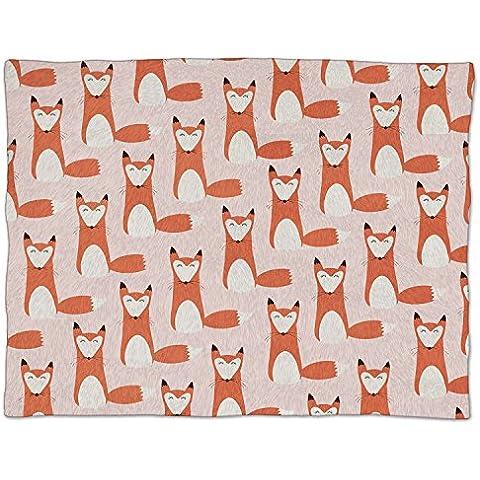 Foxy - Fox Retro electek cadorabo - suave manta de lana manta de piel sintética, rojo, Small Fleece Blanket 50x40in