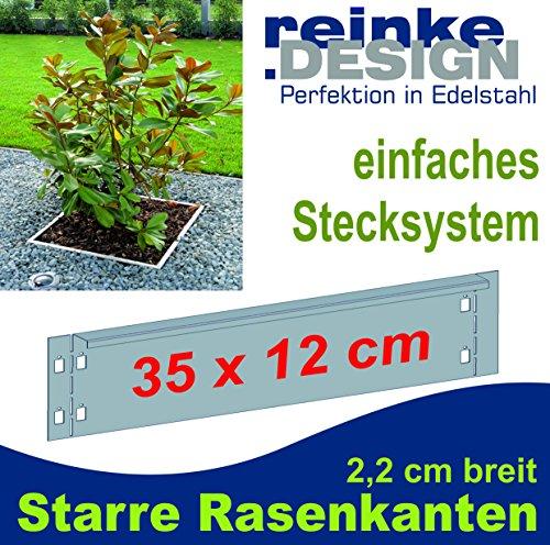 Reinkedesign Rasenkante aus Edelstahl starr 35 cm x 12 cm mit Sichtkante