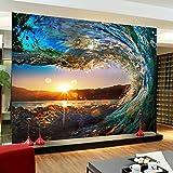 Wandgemälde Benutzerdefinierte 3D Foto Tapete Wohnzimmer Sofa Hintergrundbild 3D Stereoskopische Wandbild Tapete Natur Landschaft Wave Sonnenuntergang,290Cm(H)×480Cm(W)
