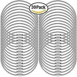 """Senhai 30 PC Llaveros de Alambre, 5.2""""/ 13cm Anillo 2mm Cable Loops Engranaje de Acero Inoxidable para Colgar Etiqueta de Equipaje, Llaves y identificadores de Etiquetas de identificación - Plata"""